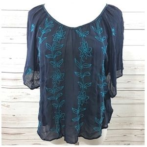 Lucky Brand Navy Blue Floral Embroidered Top XS/SM
